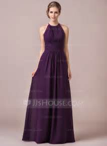 chiffon halter neck floor length bridesmaid dress with