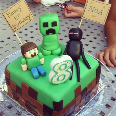 On my son s 8th birthday i made a minecraft theme cake