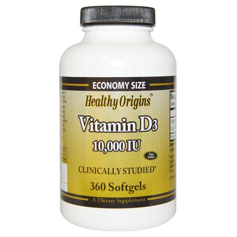 Vitamin D3 healthy origins vitamin d3 10 000 iu 360 softgels