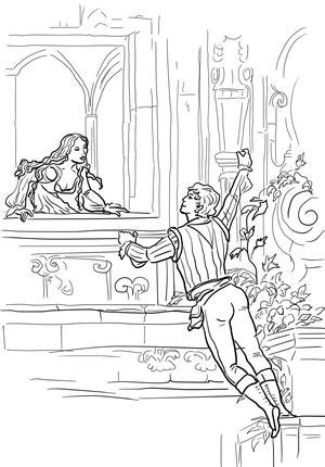 printable version of macbeth click romeo and juliet balcony scene coloring page for