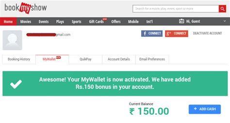 bookmyshow login bookmyshow offer free rs150 bookmyshow wallet deals yaari