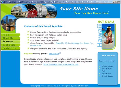 Fun Colors Travel Template Dreamweaver Web Design Templates Free