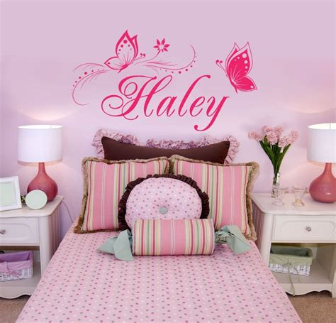 Personalized Bedroom Decor personalized name butterflies vinyl wall decal sticker