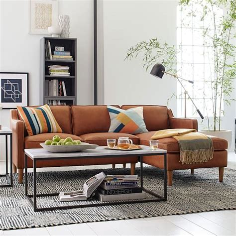 west elm sectional hamilton 2 piece leather chaise sectional sienna west elm