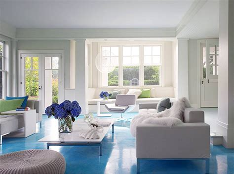 cococozy design idea white walls blue floor living