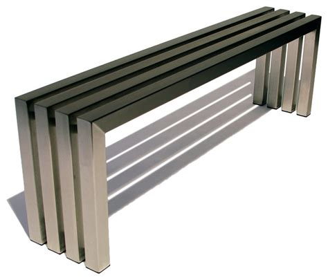 contemporary benches indoor linear bench in brushed stainless steel contemporary