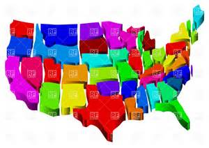 united states map in 3d colorful tiles vector image