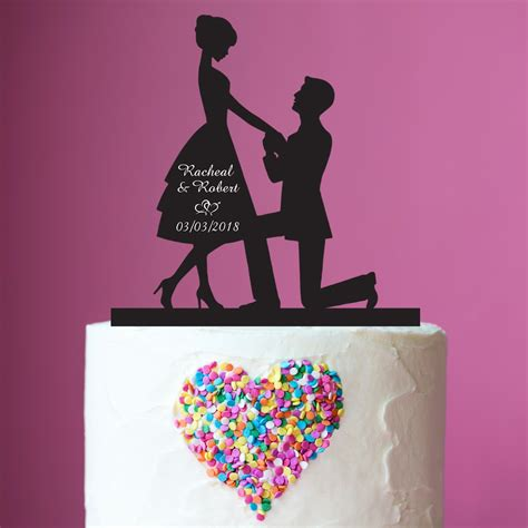 Topper Siluet Wedding Acrilik silhouette acrylic wedding cake topper anniversary cake topper custom engagement cake