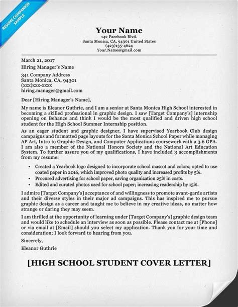 writing a student resume resume cover letter exles for high school students