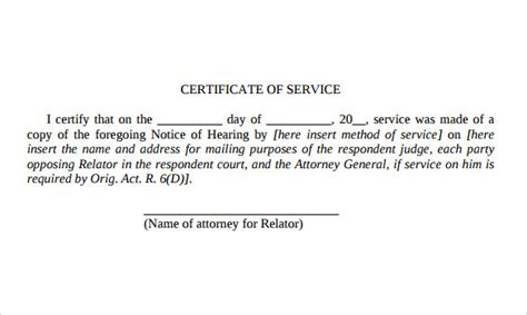 certification letter for services rendered certificate of service template 10 free