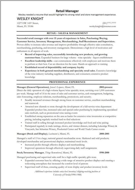 retail sle resume 9 best sle resume images on resume exles