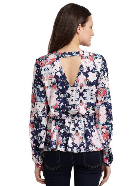Floral Peplum Blouse Dress Atasan Wanita lyst saks fifth avenue floralprint peplum blouse