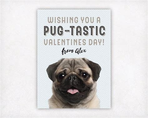 pug valentines card personalized pug card printable valentines day