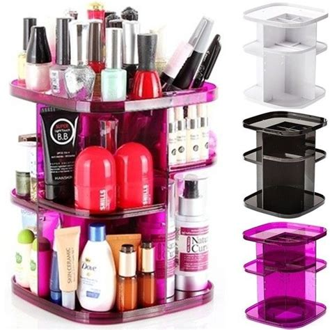 Spin Cosmetic Organizer By L360 White turn spin cosmetic organizer makeup box holder spinning rack shelf rotating ebay