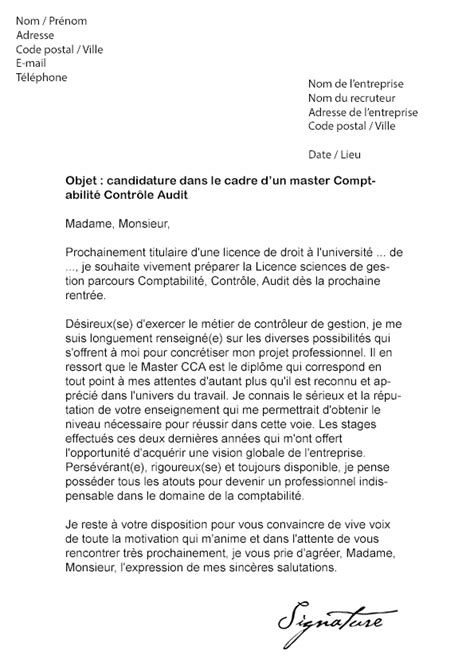 Exemple De Lettre De Motivation Pour Université Modele Lettre De Motivation Master Cca Document