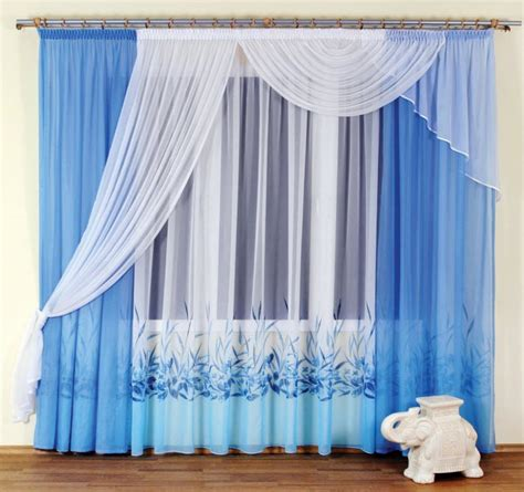 white and blue drapes different curtain design patterns home designing