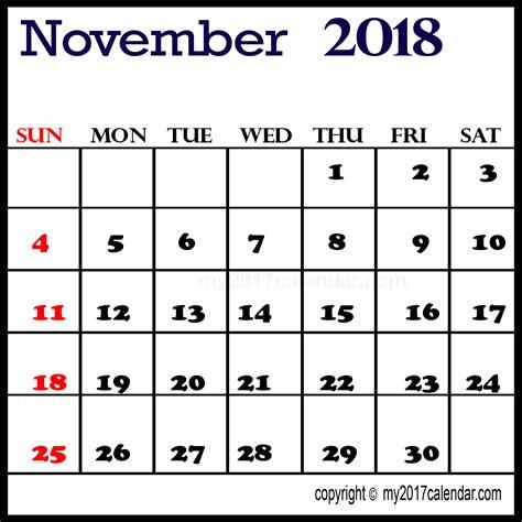 printable calendar november 2017 to april 2018 november 2018 printable calendar printable monthly calendars