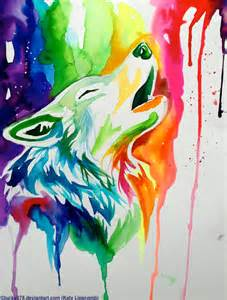 wolf painting new rainbow wolf on ebay by lucky978 on deviantart