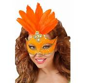 Loup De Carnaval Orange Avec Fausses Pierreries Sequins Plumes