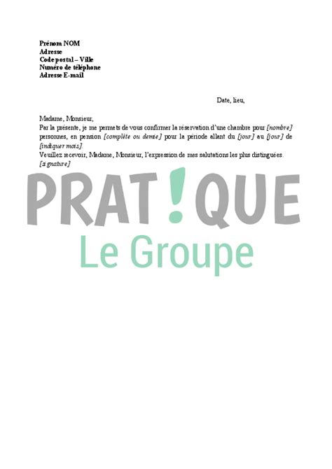 Lettre Demande De Reservation Hotel Lettre Confirmation De R 233 Servation D Une Chambre D H 244 Tel Pratique Fr