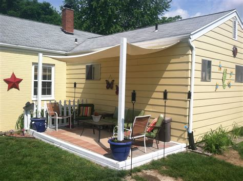 backyard awning shade diy shade canopy using planters fence posts buckets