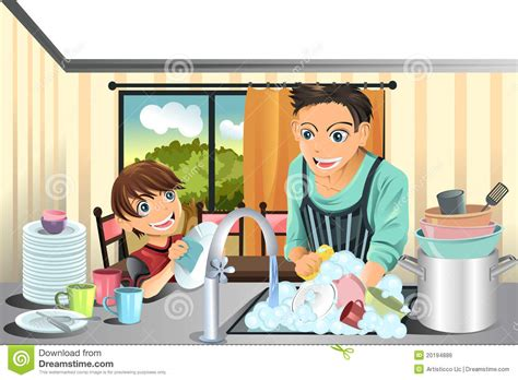 Cleaning Blogs by Father And Son Washing Dishes Royalty Free Stock Image