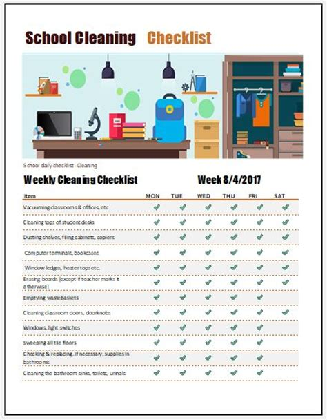 school cleaning checklist templates 8 checklist templates for everything microsoft word