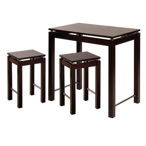 winsome linea 3pc pub kitchen set island table with 2 stools by oj commerce 92734 286 88