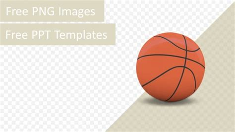 3d basketball isolated png ppt template