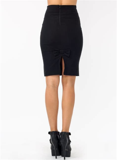high waist pencil bow skirt neoncoral gojane