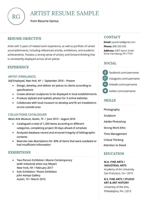 Artist Resume Sle Writing Guide Resume Genius Best Templates For Artists