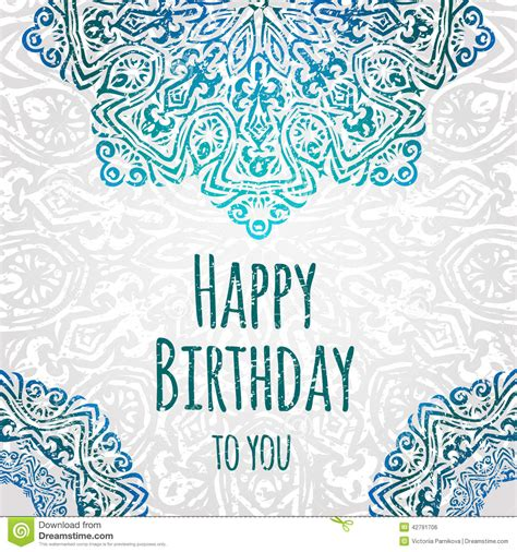 Birthday Card Vintage Template by Lacy Ethnic Vector Happy Birthday Card Template