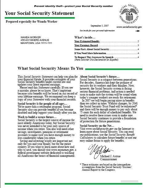 Award Letter Of Benefits Statement Your Social Security Statement Best Template Collection