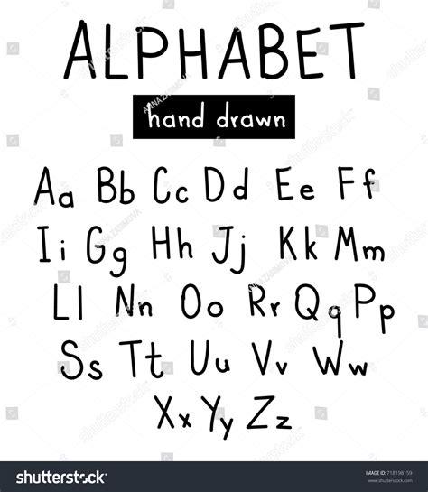 printed looking font hand drawn alphabet handwritten font brush stock vector
