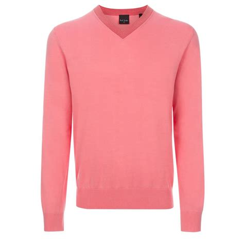 Sweater Hoodie Smth 1 paul smith s pink v neck cotton sweater with striped collar in pink for lyst