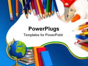 Powerpoint Templates For School by Assorted School Supplies Including Pens Pencils Scissors