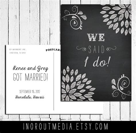 Wedding Announcement We Got Married by Wedding Announcement Postcards Chalkboard Style We Said
