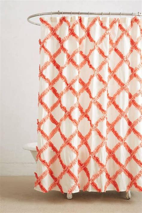 orange trellis curtains ruffled trellis orange shower curtain