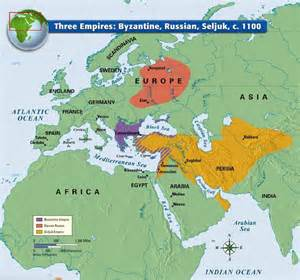 The Byzantine Empire Russia And Eastern Europe Outline Map by Three Empires Byzantine Russian Seljuk C 1100 Historical Maps Atlases