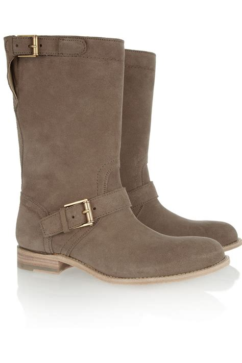 jil sander buckled brushed suede boots taupe womof