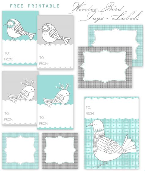 Printable Winter Gift Tags | free printable winter bird gift tags labels home