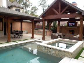 Backyard Living Pools Outdoor Living Spaces Traditional Pool Houston By Wood Crafters Of Patio Covers