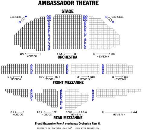 ambassador theater seating chart broadway and broadway seating charts and plans