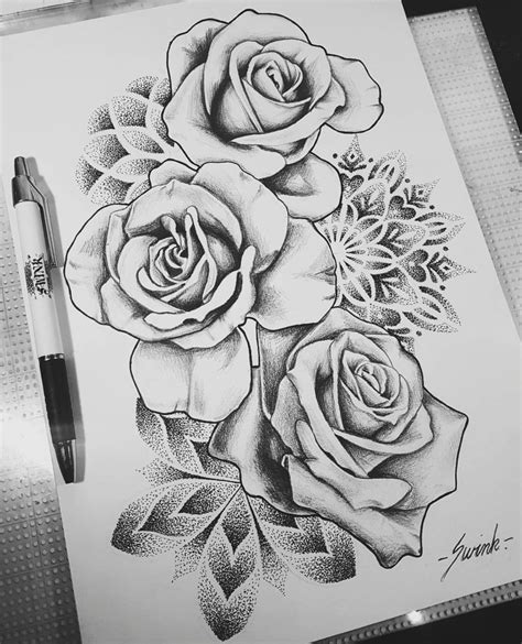 drawing tattoo roses geometrical mandala dot work roses design drawing
