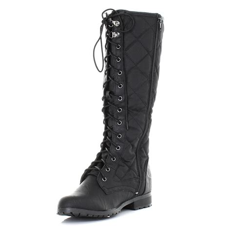 womens knee high quilted padded lace up