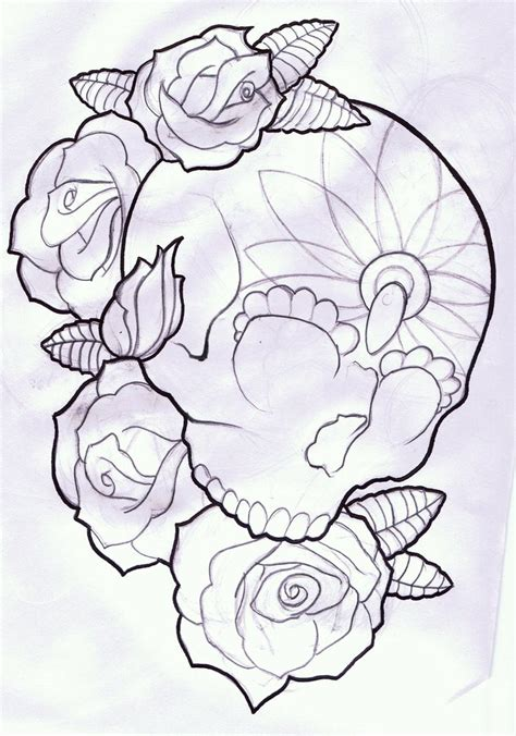roses with skulls tattoo designs