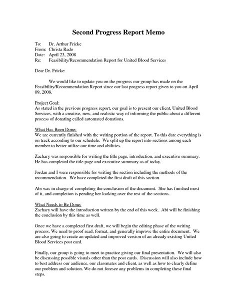 Memo Format Recommendation Progress Report Letter Format Best Template Collection