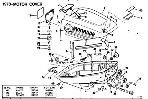 15 hp evinrude parts diagram evinrude motor cover parts for 1978 15hp 15804b outboard motor