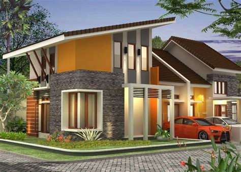 desain atap rumah 2 lantai rumah minimalis atap miring 2 lantai gambar desain model