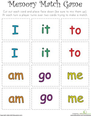 printable sight word games for preschoolers match game sight word memory match kindergarten sight